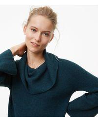 LOFT - Multicolor Cowlneck Flare Sweater Dress - Lyst