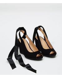 LOFT - Black Lace Up Slingback Wedges - Lyst
