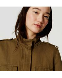 LOFT - Green Tall Linen Cotton Cargo Jacket - Lyst