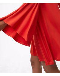 LOFT Red Petite Bell Sleeve Swing Dress