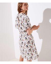LOFT White Petite Wildflower Flounce Dress