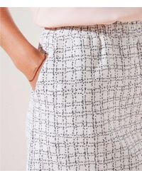 LOFT White Petite Checked Jacquard Pull On Skirt
