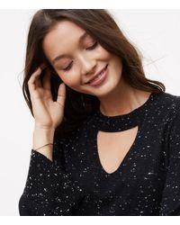 LOFT - Black Petite Speckled Choker Sweater - Lyst