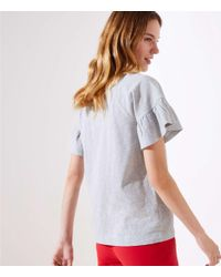LOFT Gray Embroidered Toucan Tee