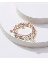LOFT - Metallic Initial Stretch Bracelet Set - Lyst