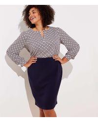 LOFT Blue Plus Doubleface Pencil Skirt