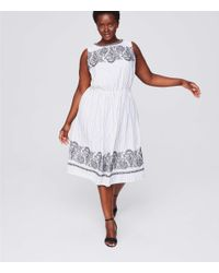 LOFT White Plus Embroidered Stripe Midi Dress