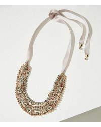 LOFT | Metallic Ribbon Multistrand Beaded Necklace | Lyst