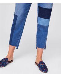 LOFT Blue Petite Patchwork Boyfriend Jeans In Classic Mid Indigo Wash
