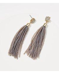LOFT - Gray Beaded Tassel Earrings - Lyst
