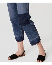 LOFT Blue Straight Crop Patchwork Jeans In Indigo Wash