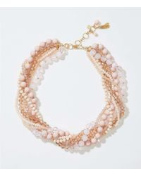 LOFT Multicolor Twisted Multistrand Bead Necklace
