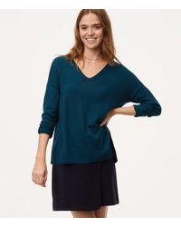 LOFT Blue Petite Tie Back Double V Sweater