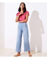 LOFT Blue Petite Sailor Wide Leg Crop Jeans In Vivid Light Indigo Wash
