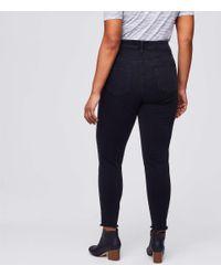 LOFT Plus Button Fly Skinny Jeans In Black