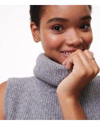 LOFT Gray Side Button Sleeveless Tunic Sweater