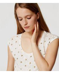 LOFT - White Petite Palm Tree Linen Shirttail Tee - Lyst