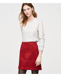 LOFT Red Faux Suede Pocket Shift Skirt