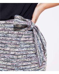 LOFT Black Plus Marled Stripe Wrap Skirt