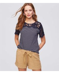 LOFT - Blue Striped Lace Tee - Lyst