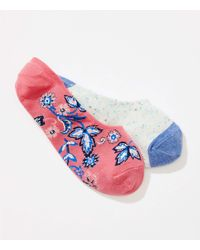 LOFT - Pink Flower & Speckle No Show Sock Set - Lyst