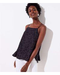 LOFT Black Petite Floral Flounce Strappy Cami