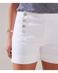 LOFT Denim Sailor Shorts In White
