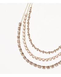 LOFT - Metallic Crystal Multistrand Necklace - Lyst