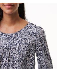 LOFT Blue Vine Paisley Covered Shoulder Button Blouse