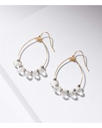 LOFT - Metallic Stone Dangle Loop Drop Earrings - Lyst