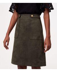 LOFT - Multicolor Faux Suede Button Tab Skirt - Lyst