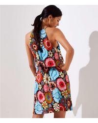 LOFT Black Beach Coral Reef Tiered Dress