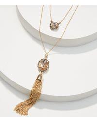 LOFT Metallic Pave Stone Tassel Layering Necklace Set