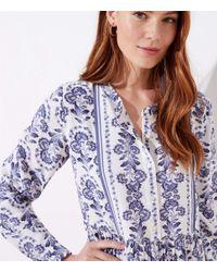 LOFT Multicolor Floral Flare Shirtdress