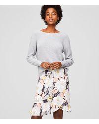 LOFT Gray Floral Flounce Skirt