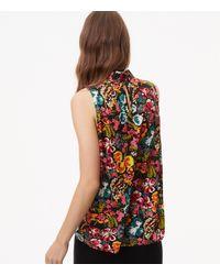 LOFT Multicolor Petite Bouquet Velvet Tie Shell