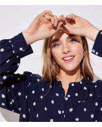 LOFT - Blue Ikat Dot Shirred Yoke Blouse - Lyst