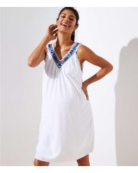d01a1fc7fe6 LOFT Maternity Embroidered Floral Shift Dress in White - Lyst