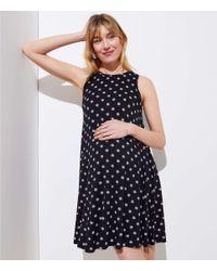 LOFT Black Petite Maternity Polka Dot Sleeveless Swing Dress