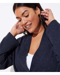 LOFT Blue Plus Flecked Tie Waist Cardigan