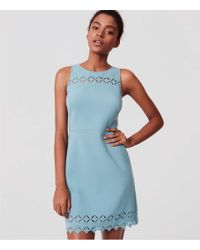LOFT Blue Laser Cut Mosaic Flare Dress