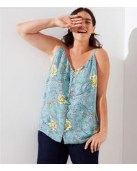 LOFT Blue Plus Floral Covered Button Strappy Cami