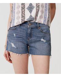 LOFT Blue Petite Cut Off Denim Shorts In Classic Light Indigo Wash