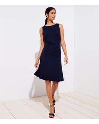 LOFT Blue Petite Side Shirred Flare Dress