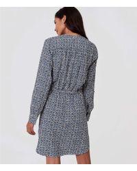 LOFT Blue Mosaic Split Neck Shirtdress