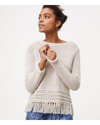 LOFT - Multicolor Fringe Sweater - Lyst