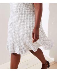 LOFT White Plus Checked Jacquard Flare Dress