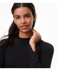 LOFT Black Petite Mock Neck Swing Sweater Dress