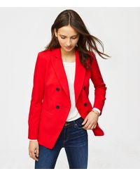 LOFT Red Petite Twill Double Breasted Blazer