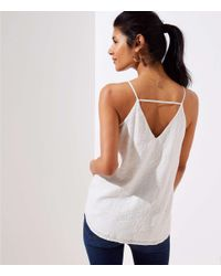 LOFT White Maternity Floral Embroidered Bar Back Strappy Cami
